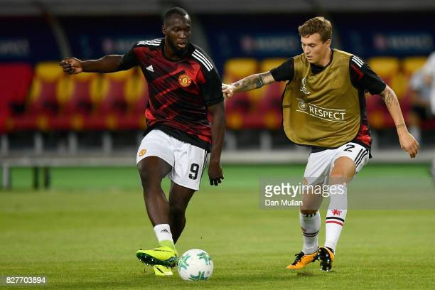 Romelu Lukaku of Manchester United and Victor Lindelof of Manchester United battle for possession while warming up prior to the UEFA Super Cup final...