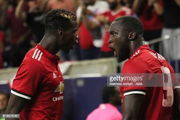 Romelu Lukaku of Manchester United celebrates after scoring a goal to make it 10 with Paul Pogba during the International Champions Cup 2017 match...