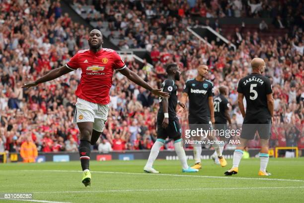 Romelu Lukaku of Manchester United celebrates after scoring a goal to make it 20 during the Premier League match between Manchester United and West...