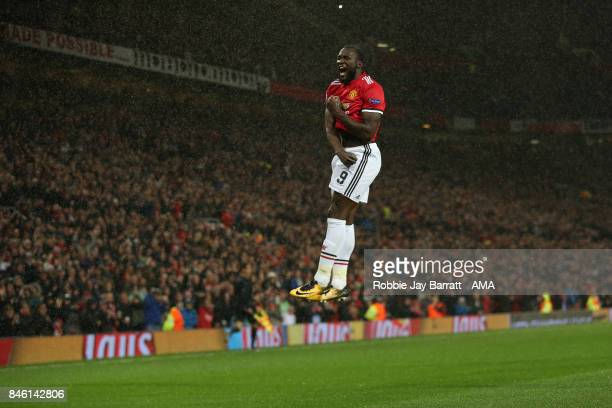Romelu Lukaku of Manchester United celebrates after scoring a goal to make it 20 during to the UEFA Champions League match between Manchester United...