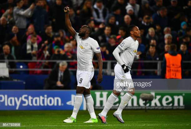 Romelu Lukaku of Manchester United celebrates after scoring his sides first goal during the UEFA Champions League group A match between CSKA Moskva...