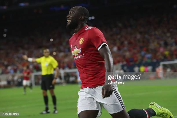Romelu Lukaku of Manchester United celebrates Marcus Rashford scoring their second goal during the preseason friendly International Champions Cup...