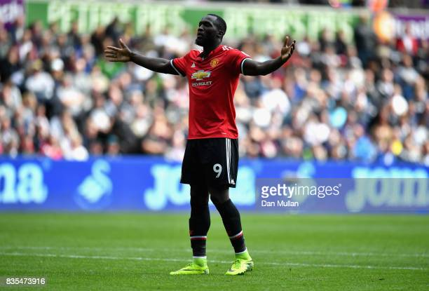 Romelu Lukaku of Manchester United celebrates scoring his sides second goal during the Premier League match between Swansea City and Manchester...
