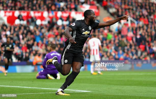 Romelu Lukaku of Manchester United celebrates scoring his sides second goal during the Premier League match between Stoke City and Manchester United...