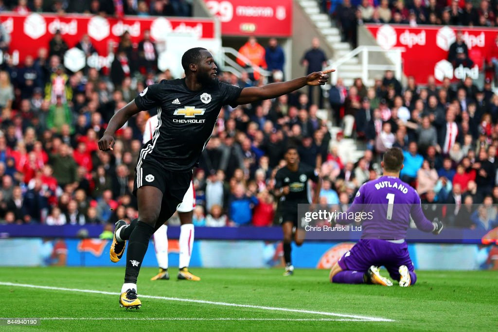 Romelu Lukaku of Manchester United celebrates scoring his side's second goal during the Premier League match between Stoke City and Manchester United at Bet365 Stadium on September 9, 2017 in Stoke on Trent, England.