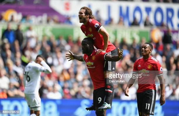 Romelu Lukaku of Manchester United celebrates scoring hisw sides second goal with Daley Blind of Manchester United during the Premier League match...