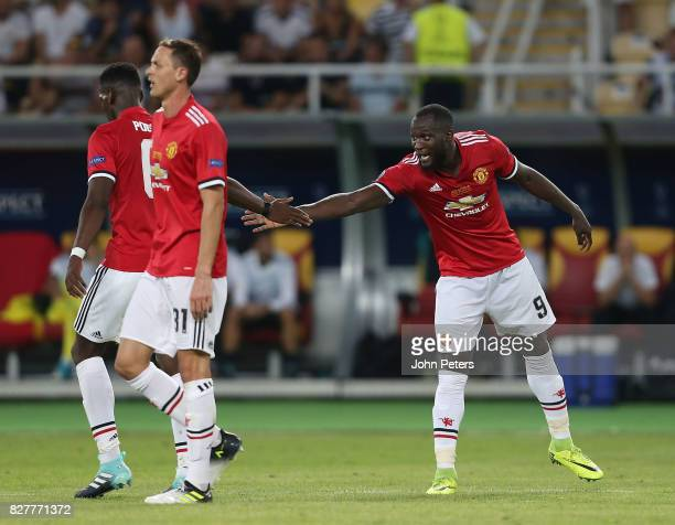 Romelu Lukaku of Manchester United celebrates scoring their first goal during the UEFA Super Cup match between Real Madrid and Manchester United at...