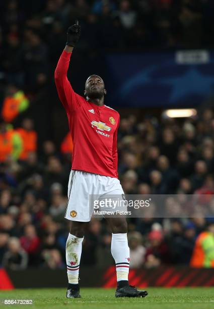Romelu Lukaku of Manchester United celebrates scoring their first goal during the UEFA Champions League group A match between Manchester United and...