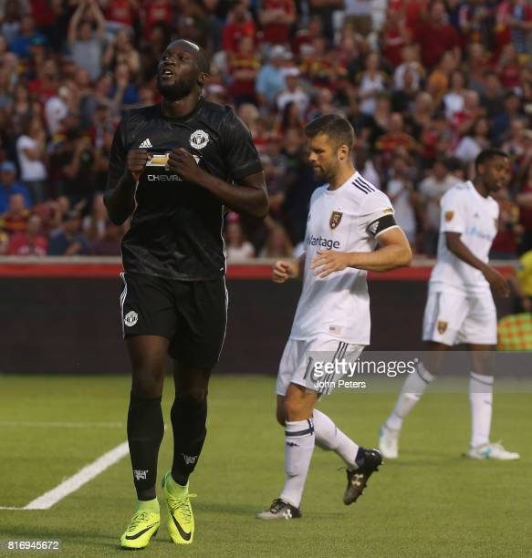 Romelu Lukaku of Manchester United celebrates scoring their second goal during the preseason friendly match between Real Salt Lake and Manchester...