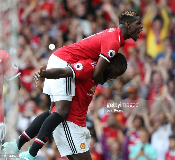 Romelu Lukaku of Manchester United celebrates scoring their second goal during the Premier League match between Manchester United and West Ham United...