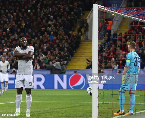 Romelu Lukaku of Manchester United celebrates scoring their third goal during the UEFA Champions League group A match between CSKA Moskva and...