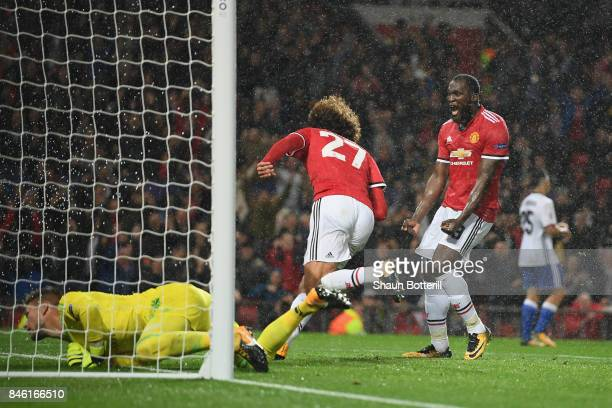 Romelu Lukaku of Manchester United celebrates with Marouane Fellaini of Manchester United after the first goal during the UEFA Champions League group...