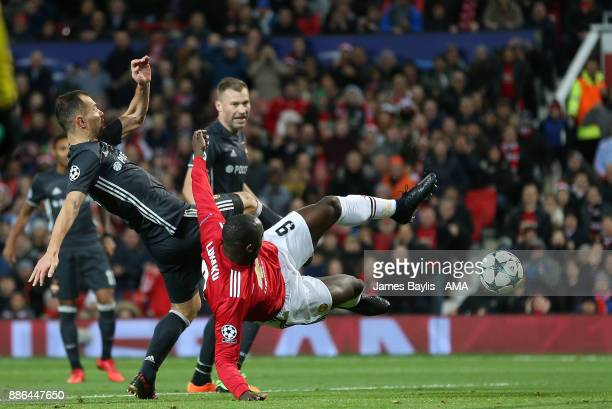 Romelu Lukaku of Manchester United has a shot saved by Igor Akinfeev of CSKA Moscow during the UEFA Champions League group A match between Manchester...
