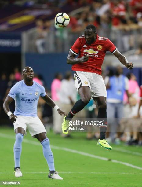 Romelu Lukaku of Manchester United heads the ball away from Eliaquim Mangala of Manchester City at NRG Stadium on July 20 2017 in Houston Texas