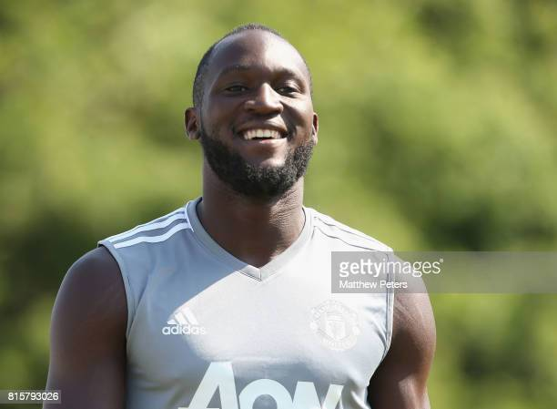 Romelu Lukaku of Manchester United in action during a first team training session as part of their preseason tour of the USA at UCLA on July 16 2017...