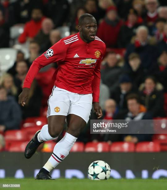 Romelu Lukaku of Manchester United in action during the UEFA Champions League group A match between Manchester United and CSKA Moskva at Old Trafford...