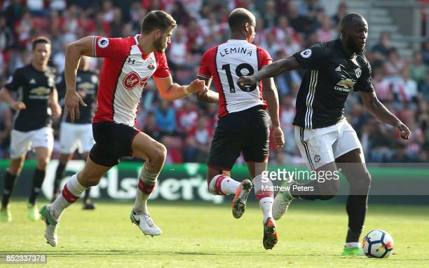Romelu Lukaku of Manchester United in action with Mario Lemina of Southampton during the Premier League match between Southampton and Manchester...
