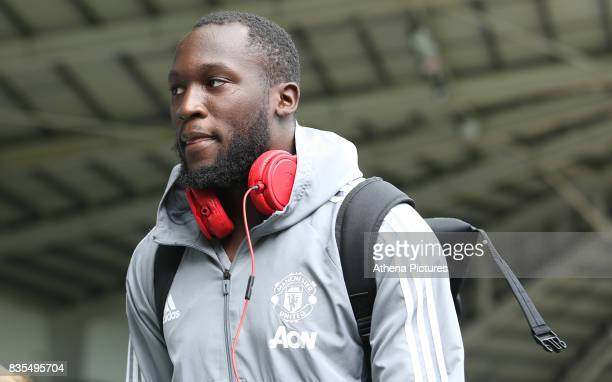 Romelu Lukaku of Manchester United prior to kick off of the Premier League match between Swansea City and Manchester United at The Liberty Stadium on...