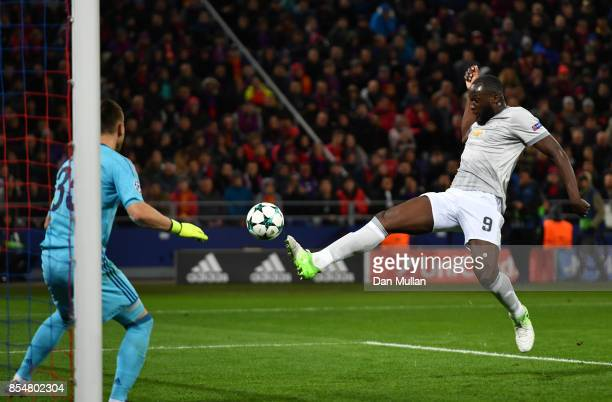 Romelu Lukaku of Manchester United scores his second and his sides third goal during the UEFA Champions League group A match between CSKA Moskva and...