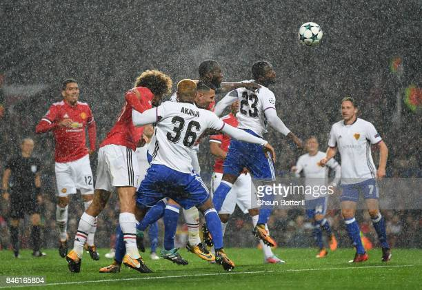 Romelu Lukaku of Manchester United scores his sides second goal during the UEFA Champions League group A match between Manchester United and FC Basel...