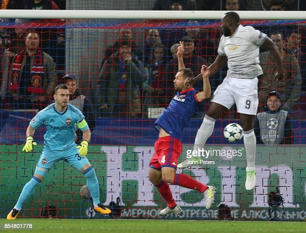 Romelu Lukaku of Manchester United scores their first goal during the UEFA Champions League group A match between CSKA Moskva and Manchester United...