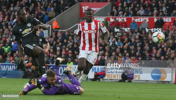 Romelu Lukaku of Manchester United scores their second goal during the Premier League match between Stoke City and Manchester United at Bet365...