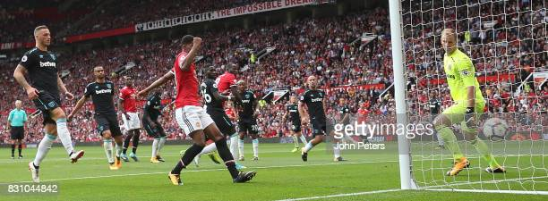 Romelu Lukaku of Manchester United scores their second goalduring the Premier League match between Manchester United and West Ham United at Old...
