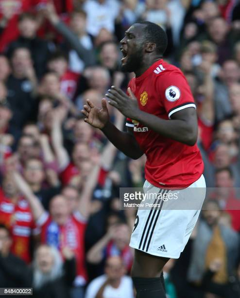 Romelu Lukaku of Manchester United shows his disappointment at a missed chance during the Premier League match between Manchester United and Everton...
