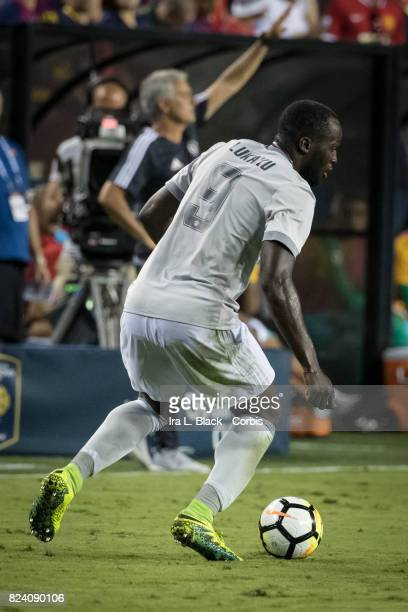 Romelu Lukaku of Manchester United turns to keep control of the ball during the International Champions Cup match between FC Barcelona and Manchester...