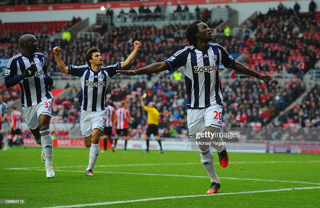 Romelu Lukaku of West Brom celebrates scoring to make it 3-1 during the Barclays Premier League match between Sunderland and West Bromwich Albion at the Stadium of Light on November 24, 2012 in Sunderland, England.