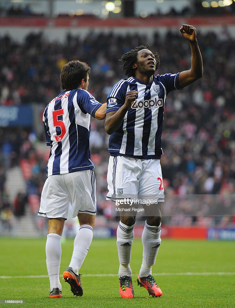 <a gi-track='captionPersonalityLinkClicked' href=/galleries/search?phrase=Romelu+Lukaku&family=editorial&specificpeople=6342802 ng-click='$event.stopPropagation()'>Romelu Lukaku</a> of West Brom celebrates scoring to make it 3-1 during the Barclays Premier League match between Sunderland and West Bromwich Albion at the Stadium of Light on November 24, 2012 in Sunderland, England.
