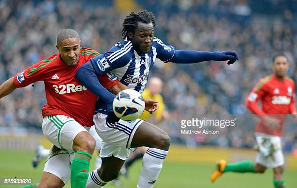 Romelu Lukaku of West Bromwich Albion Ashley Williams of Swansea City