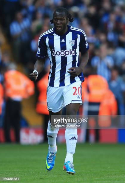Romelu Lukaku of West Bromwich Albion celebrates as he scores their second goal during the Barclays Premier League match between West Bromwich Albion...