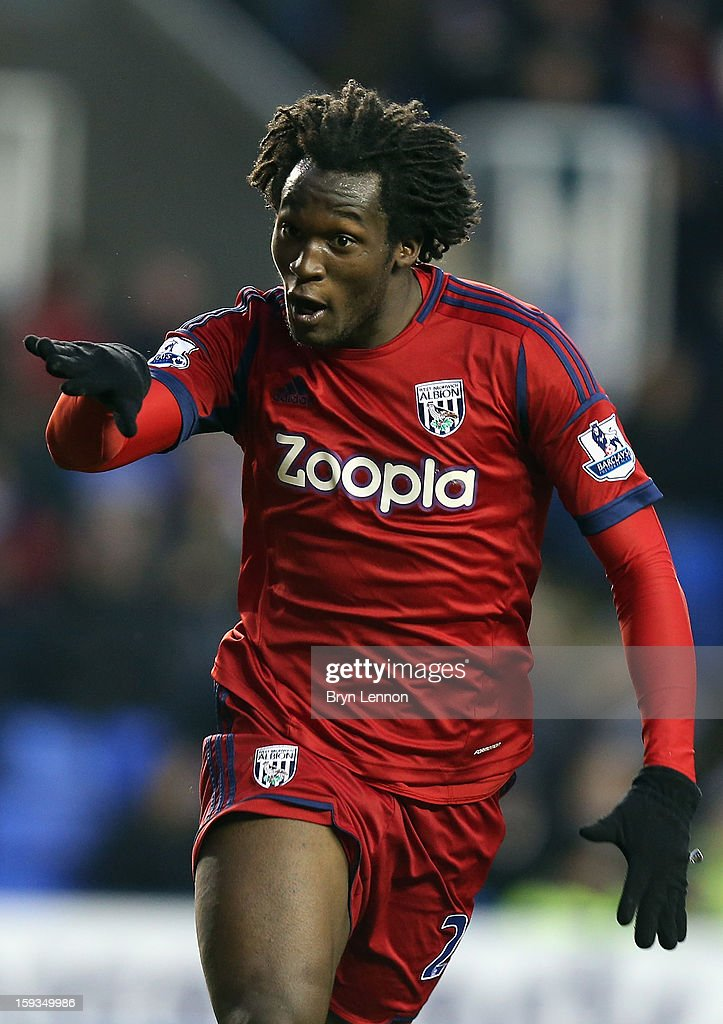 <a gi-track='captionPersonalityLinkClicked' href=/galleries/search?phrase=Romelu+Lukaku&family=editorial&specificpeople=6342802 ng-click='$event.stopPropagation()'>Romelu Lukaku</a> of West Bromwich Albion celebrates scoring during the Barclays Premier League match between Reading and West Bromwich Albion at the Madejski Stadium on January 12, 2013 in Reading, England.