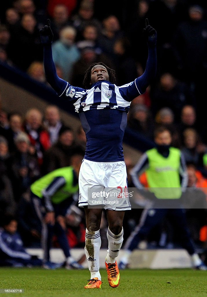 <a gi-track='captionPersonalityLinkClicked' href=/galleries/search?phrase=Romelu+Lukaku&family=editorial&specificpeople=6342802 ng-click='$event.stopPropagation()'>Romelu Lukaku</a> of West Bromwich Albion celebrates scoring his side's second goal during the Barclays Premier League match between West Bromwich Albion and Sunderland at The Hawthorns on February 23, 2013 in West Bromwich, England.