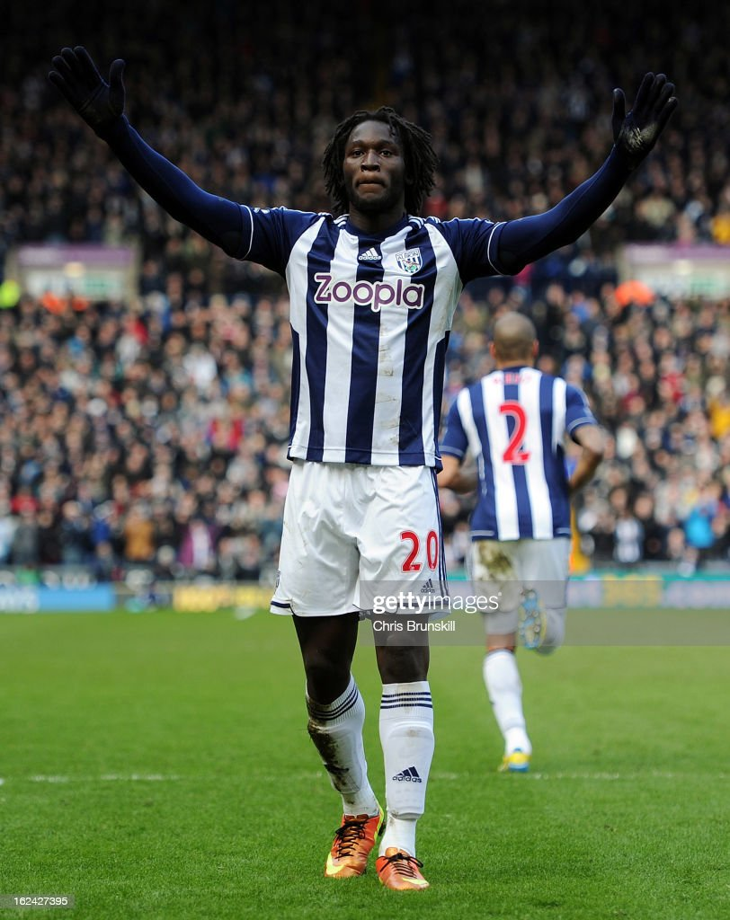 <a gi-track='captionPersonalityLinkClicked' href=/galleries/search?phrase=Romelu+Lukaku&family=editorial&specificpeople=6342802 ng-click='$event.stopPropagation()'>Romelu Lukaku</a> of West Bromwich Albion celebrates scoring the opening goal during the Barclays Premier League match between West Bromwich Albion and Sunderland at The Hawthorns on February 23, 2013 in West Bromwich, England.