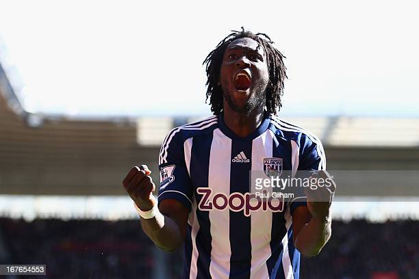 Romelu Lukaku of West Bromwich Albion celebrates scoring the second goal for West Bromwich Albion during the Barclays Premier League match between...