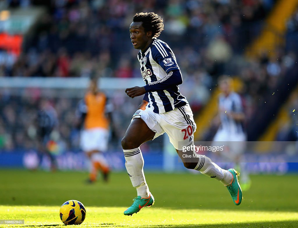 <a gi-track='captionPersonalityLinkClicked' href=/galleries/search?phrase=Romelu+Lukaku&family=editorial&specificpeople=6342802 ng-click='$event.stopPropagation()'>Romelu Lukaku</a> of West Bromwich Albion in action during the Barclays Premier League match between West Bromwich Albion and Fulham at The Hawthorns, on January 1, 2013 in West Bromwich, England.