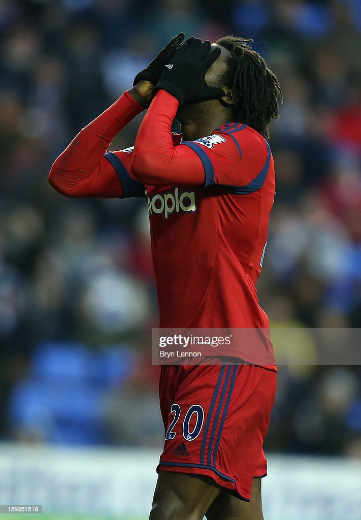 Romelu Lukaku of West Bromwich Albion reacts to a missed goal opportunity during the Barclays Premier League match between Reading and West Bromwich Albion at the Madejski Stadium on January 12, 2013 in Reading, England.