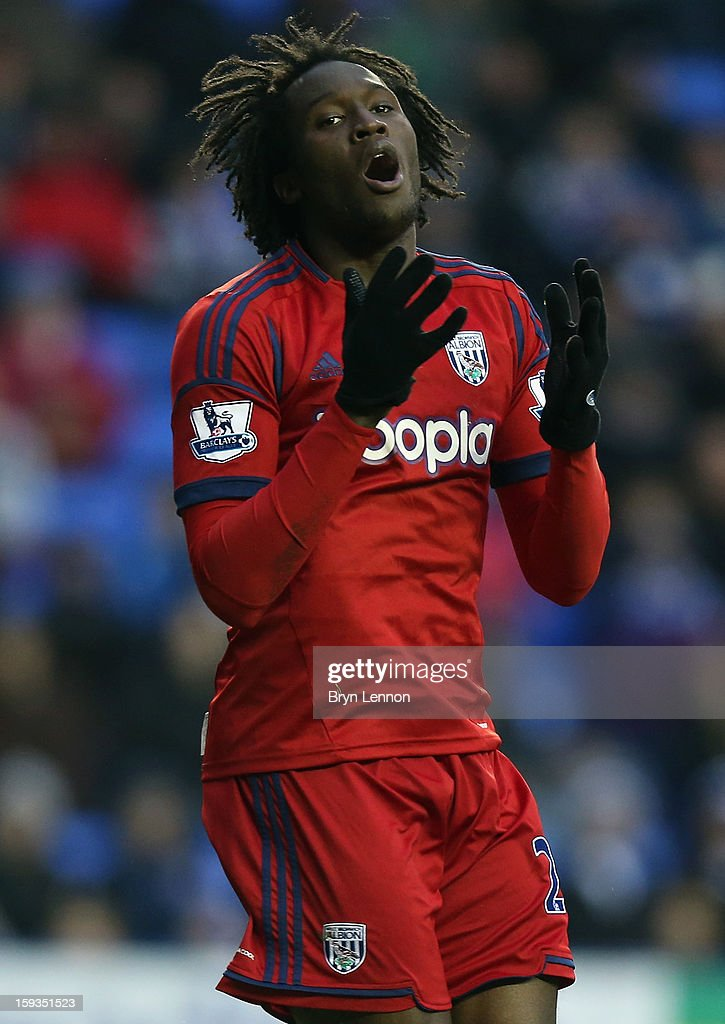 <a gi-track='captionPersonalityLinkClicked' href=/galleries/search?phrase=Romelu+Lukaku&family=editorial&specificpeople=6342802 ng-click='$event.stopPropagation()'>Romelu Lukaku</a> of West Bromwich Albion reacts to a missed goal opportunity during the Barclays Premier League match between Reading and West Bromwich Albion at the Madejski Stadium on January 12, 2013 in Reading, England.