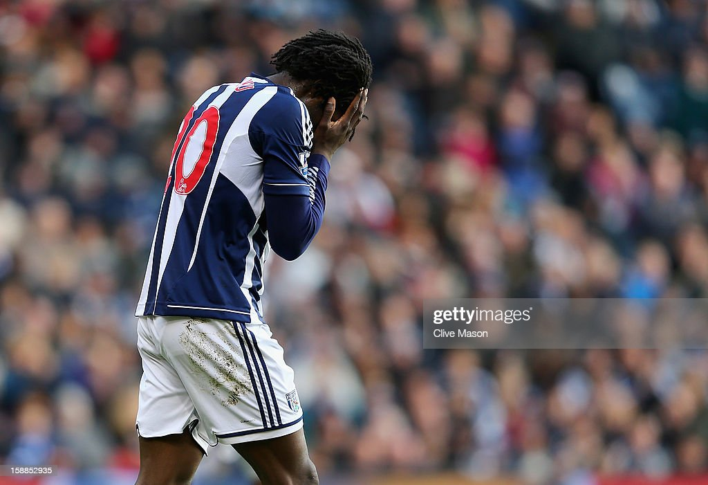 <a gi-track='captionPersonalityLinkClicked' href=/galleries/search?phrase=Romelu+Lukaku&family=editorial&specificpeople=6342802 ng-click='$event.stopPropagation()'>Romelu Lukaku</a> of West Bromwich Albion rues a missed opportunity during the Barclays Premier League match between West Bromwich Albion and Fulham at The Hawthorns, on January 1, 2013 in West Bromwich, England.