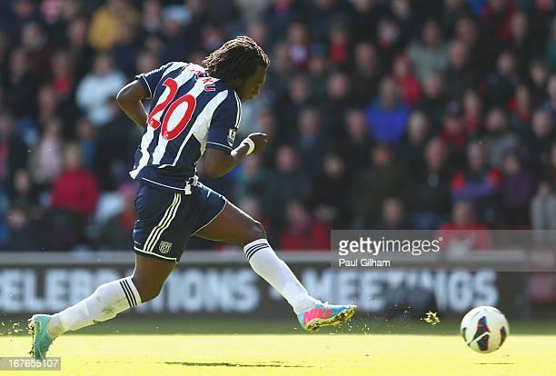 Romelu Lukaku of West Bromwich Albion scores the second goal for West Bromwich Albion during the Barclays Premier League match between Southampton...