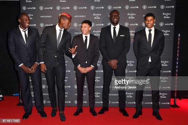 Romelu Lukaku Paul Pogba Jeese Lingard Stormzy and Marcus Rashford attend the United for Unicef Gala Dinner at Old Trafford on November 15 2017 in...