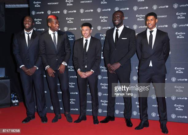 Romelu Lukaku Paul Pogba Jesse Lingard Stormzy and Marcus Rashford attend the United for Unicef Gala Dinner at Old Trafford on November 15 2017 in...