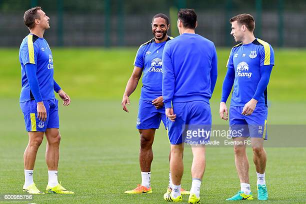 Romelu Lukaku Phil Jagielka Ashley Williams and Seamus Coleman during the Everton FC training session at Finch Farm on September 8 2016 in Halewood...