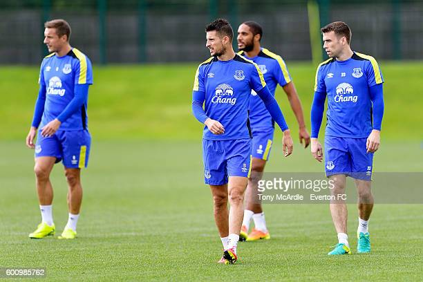 Romelu Lukaku Phil Jagielka Kevin Mirallas Ashley Williams and Seamus Coleman during the Everton FC training session at Finch Farm on September 8...