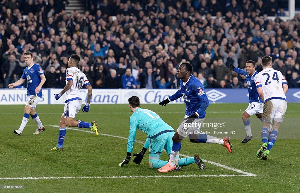 Romelu Lukaku reels away from scoring his first goal during The Emirates FA Cup Sixth Round match between Everton and Chelsea at Goodison Park on March 12, 2016 in Liverpool, England.