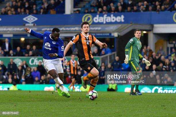 Romelu Lukaku scores his second goal during the Premier League match between Everton and Hull City at the Goodison Park on March 18 2017 in Liverpool...