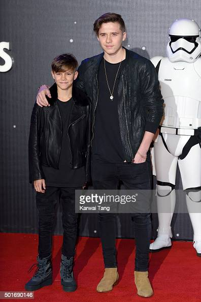 Romeo Beckham and Brooklyn Beckham attend the European Premiere of 'Star Wars The Force Awakens' at Leicester Square on December 16 2015 in London...