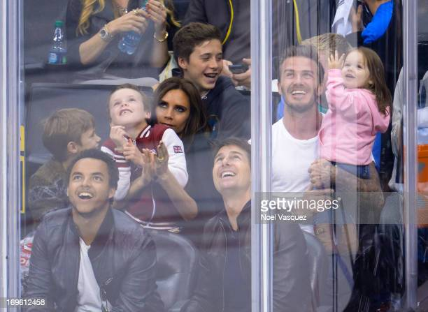 Romeo Beckham Connor Cruise Cruz Beckham Victoria Beckham Brooklyn Beckham Tom Cruise David Beckham and Harper Beckham attend an NHL playoff game...